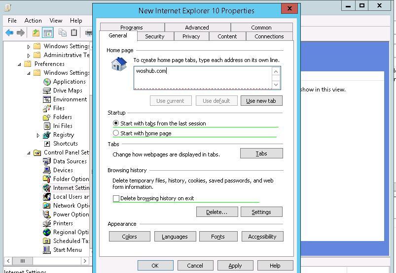 Configure IE 10 Settings