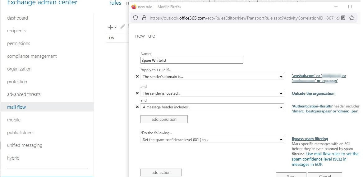 exchange online (office 365): add whitelist transport rule