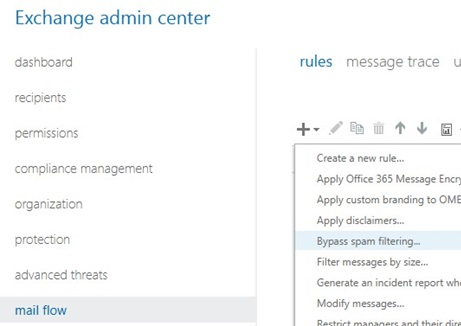 exchange-online-office-356-add bypass spam filtering rule in exchange online