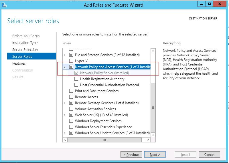 Install Network Policy Server role on WIndows Server 2012