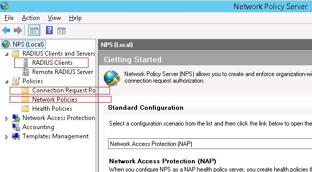 NPS console on Windows Server 2012