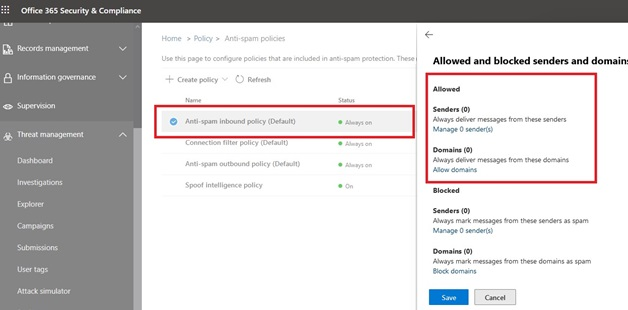 office365 security and compliance center: anti-spam policies