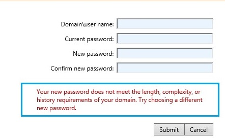 domain password policy when set new password on remote desktop web access