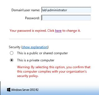 rdweb login web page - Your password is expired