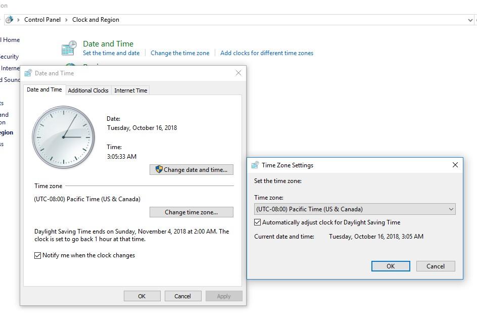 set time zone in windows 10 - timedate.cpl