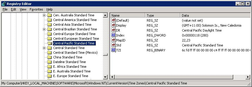Registry timezone list