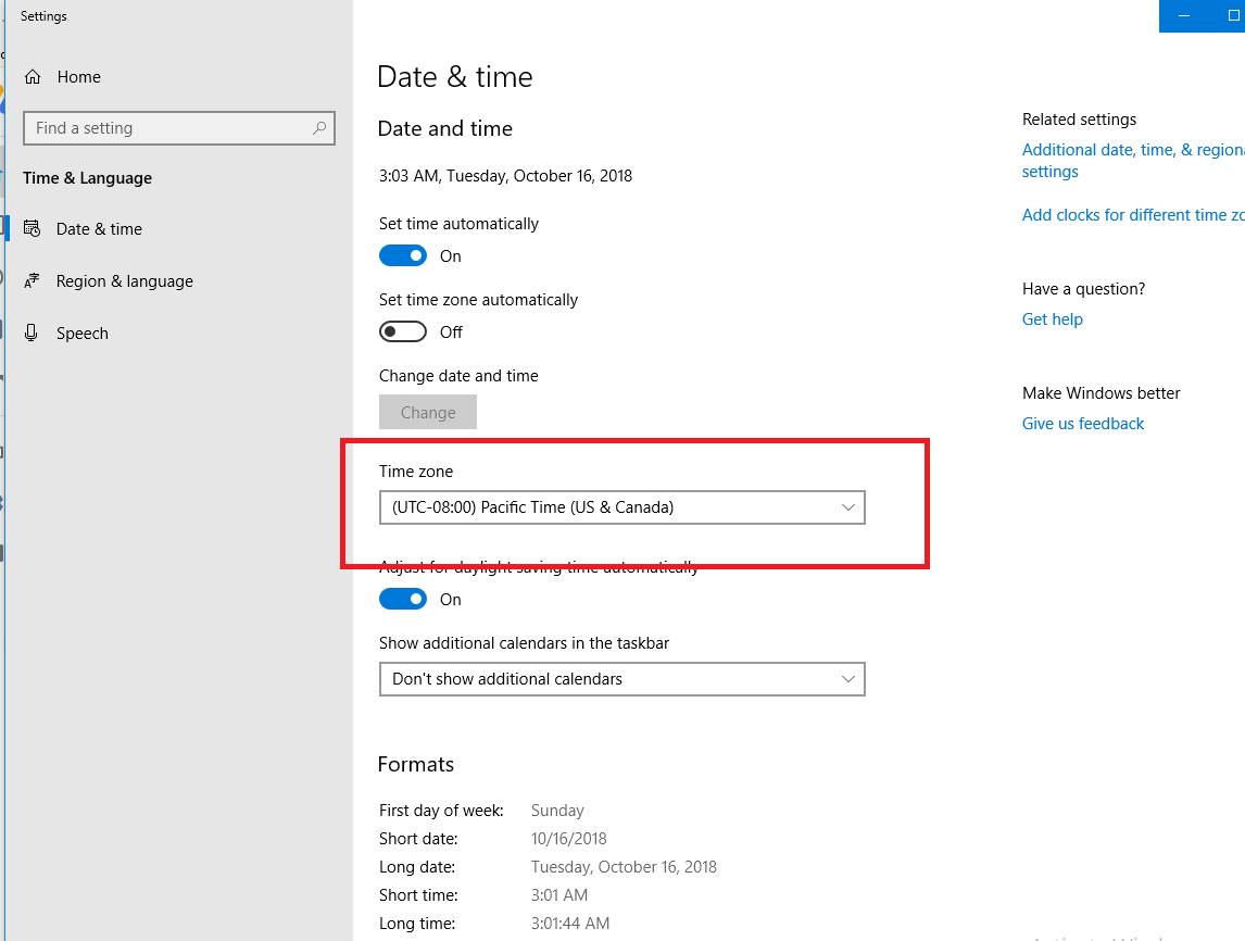 time zone settings app in windows 10