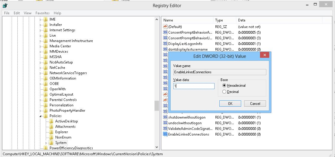 EnableLinkedConnections key in registry