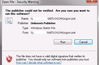 Open File — Security Warning. The Publisher could not be verified.