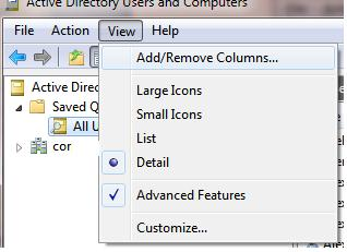 Add/Remove columns in ADUC