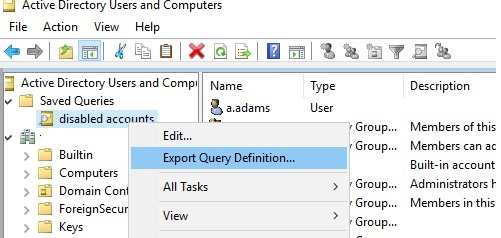 aduc export definition to the xml file
