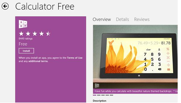 Windows Store app: Calculator Free