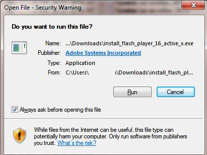 Open File - Security Warning : Do you want to run this file