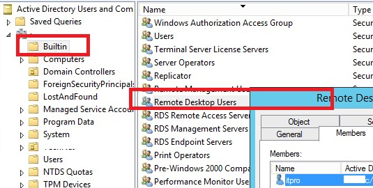 domain builtin group Remote Desktop Users