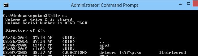 Cannot access mapped network drive command prompt