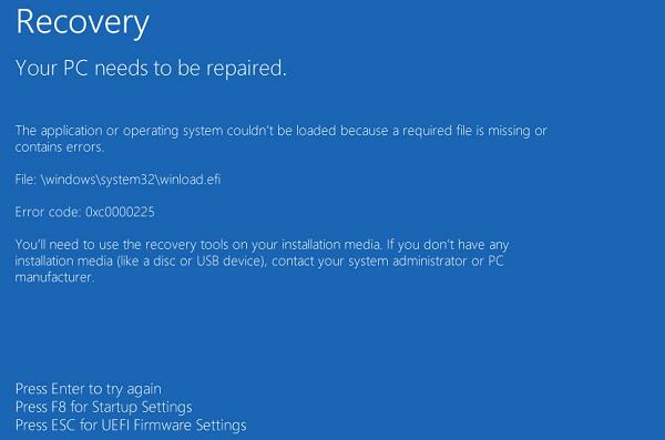 Winload efi is Missing or Contains Errors in Windows 10 / 8 1