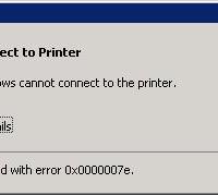 0x0000007e Network HP Printe Install Error