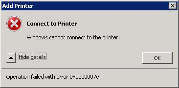 Windows cannot connect to the HP printer. Operation failed with error 0x0000007e