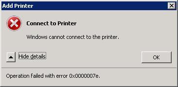Windows ne peut pas se connecter à l'imprimante HP. L'opération a échoué avec l'erreur 0x0000007e