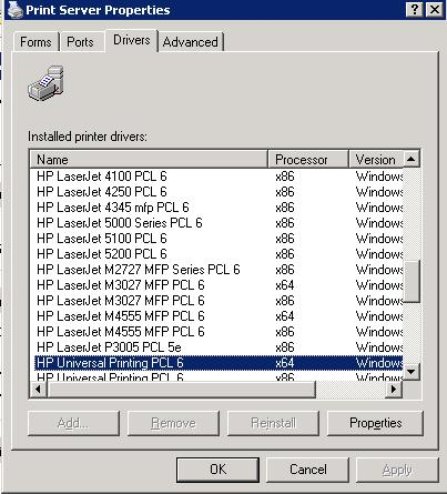 of HP Universal Printing PCL 6  driver