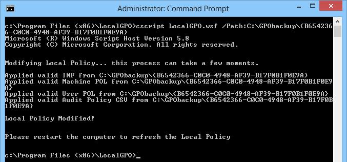 Import local policy settings from LocalGPO