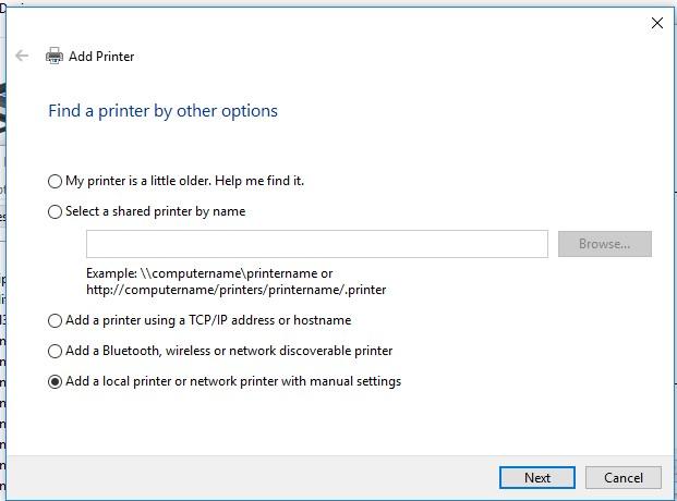 ajouter une imprimante locale à partir du panneau de commande