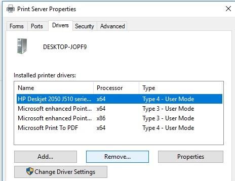 supprimer l'ancienne version du pilote d'imprimante du serveur