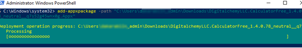 install appx package with PowerShell in Windows 10