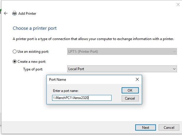 connecter une imprimante partagée en utilisant un port local avec un chemin UNC