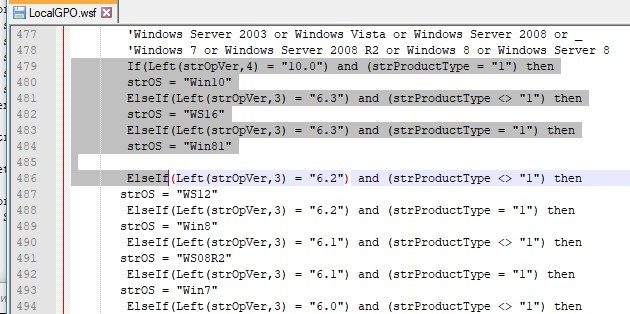 modify ChkOSVersion function in LocalGPO.wsf to support windows 10