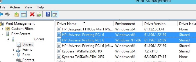 print server installed drivers - HP Universal Printing PCL 6 driver