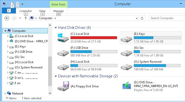 Show drive letterbefore drive names in Windows 8