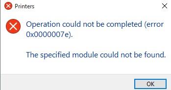 L'opération n'a pas pu être terminée (erreur 0x0000007e). Le module spécifié est introuvable