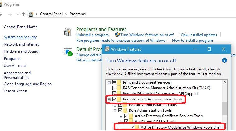 Active Directory Module for Windows PowerShell in Windows 10