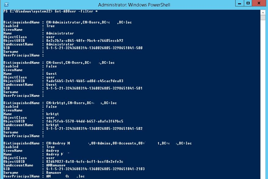 Get-ADUser - get AD user data via Powershell