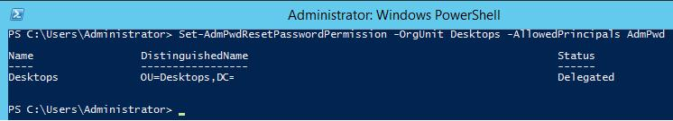 Set-AdmPwdResetPasswordPermission