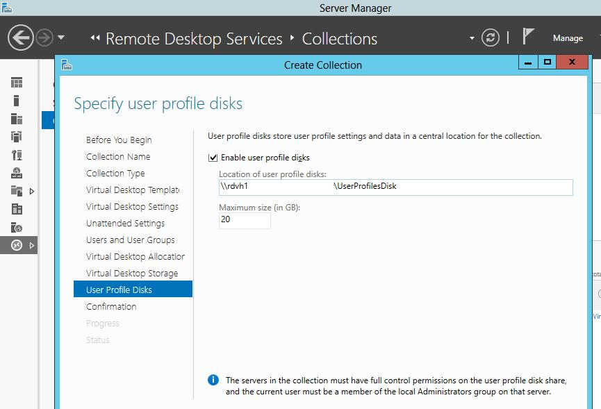 User Profile Disks on Windows Server 2012 R2 / 2016 RDS