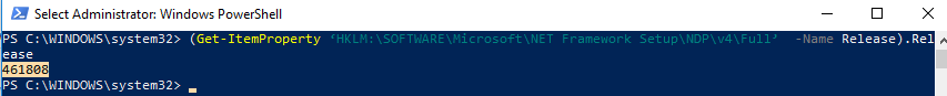 check .net using powershell