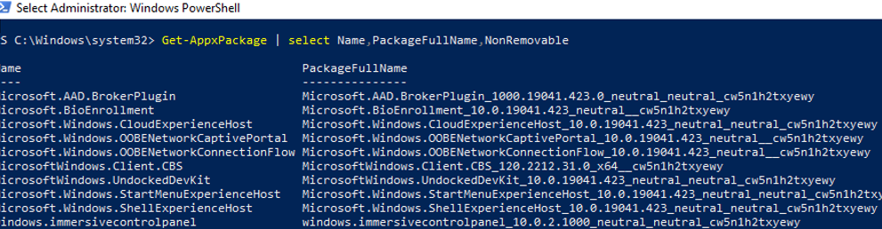 Get-AppxPackage - list installed appx packages on windows 10