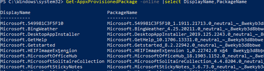 Get-AppxProvisionedPackage - list provisioned UWP packages in windows 10 image