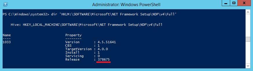 Powershell: get .NET Framework release