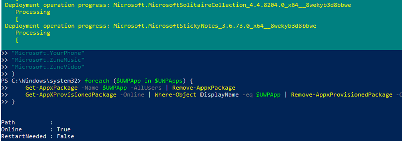 how to uninstall built-in Windows 10 apps for all users with powershell script