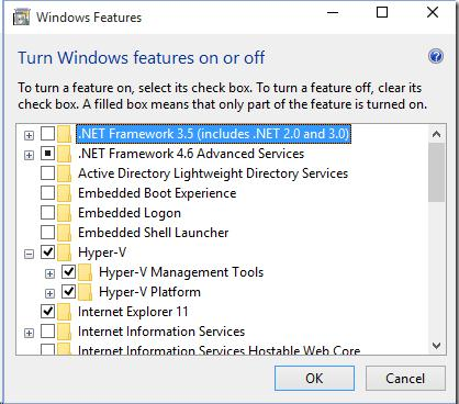 Hyper-V role  on  Windows 10