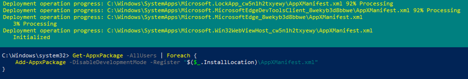 restoring removed appx application on windows 10 with powershell via appmanifest