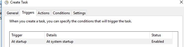 trigger to run on windows startup