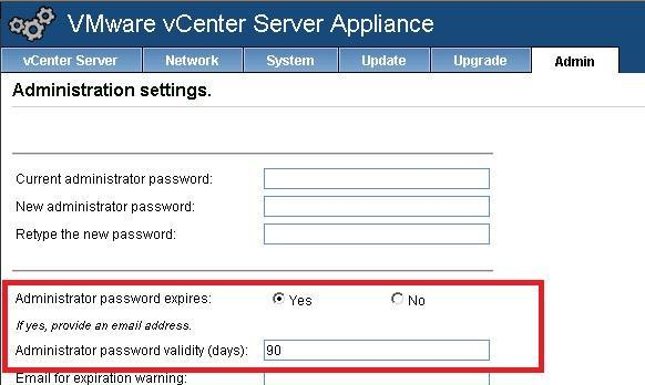 vCSA password settings