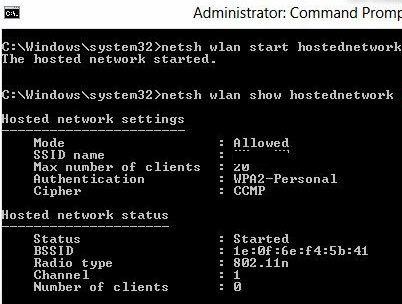 Netsh wlan show hostednetwork