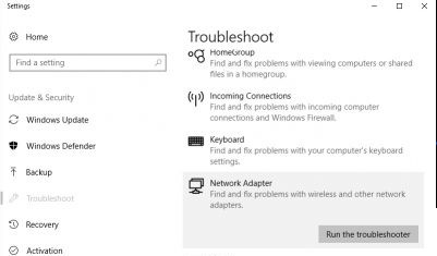 run Network Adapter Troubleshooter to fix hotspot