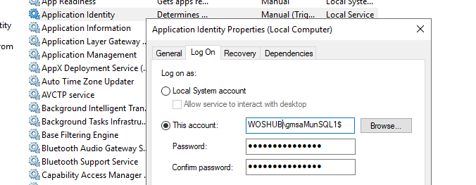 configure windows service to run from gMSA service account