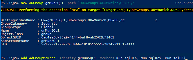 create a security group for the gMSA account in AD